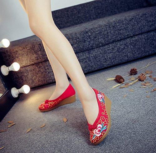 Avacostume Mujeres Oro Patrón Bordado Cuña Talón Casual Slip-on Zapatos Rojo