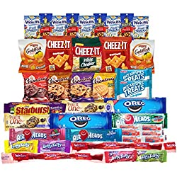 Snacks Care Package Bundle Assortment Bulk Sampler, Variety Pack of 40, Crackers, Cookies, Candy, Fruit Snacks, Healthy Protein Bars, and Nuts