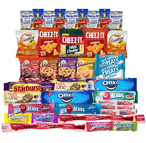[Snacks Care Package (Variety Pack of 40) Crackers, Cookies, Candy, Fruit Snacks, Healthy Protein Bars, and Nuts, Bundle Assortment Bulk Sampler] (Need Gift Basket Supply)