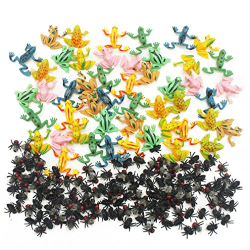 MICHLEY 50pcs Plastic Frogs + 144pcs Flies for Party Favorite (Small Frog)