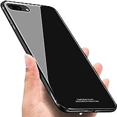 Jasinber Funda Case de Mica de Vidrio Cristal Templado con TPU Bumper para iPhone 8 Plus/7 Plus (Negro)