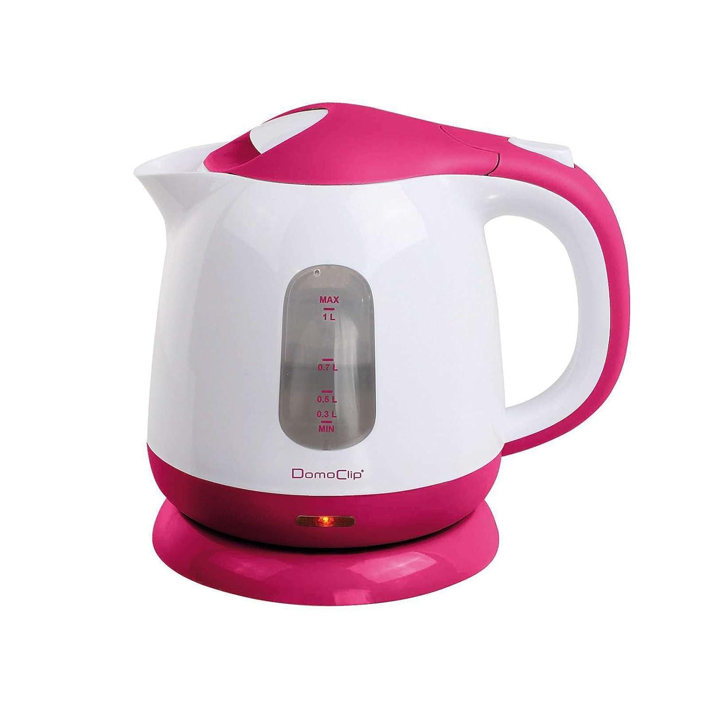 Bollitore elettrico 1litro cavo Los Filtro anticalcare estraibile 1100Watt (spegnimento automatici, Indicatore del livello dell' acqua, Pink Bianco) DomoClip