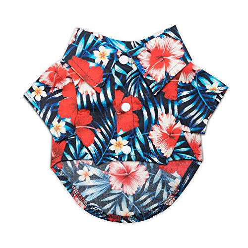 "United Pups Hawaiian Shirt for Dogs (Modern Pups Black, Size 4: Max Neck 15"" Chest 25"") Black Size 4"