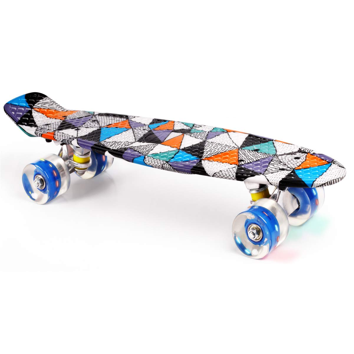 Merkapa 22'' Complete Skateboard with Colorful LED Light Up Wheels for Beginners (Triangle)