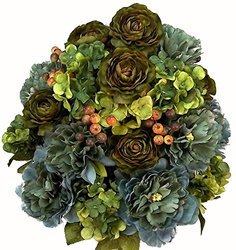 Admired By Nature GPB1126-TROUT 24 Stems Faux Peony Ranunculus Mix Flower Bush, Green