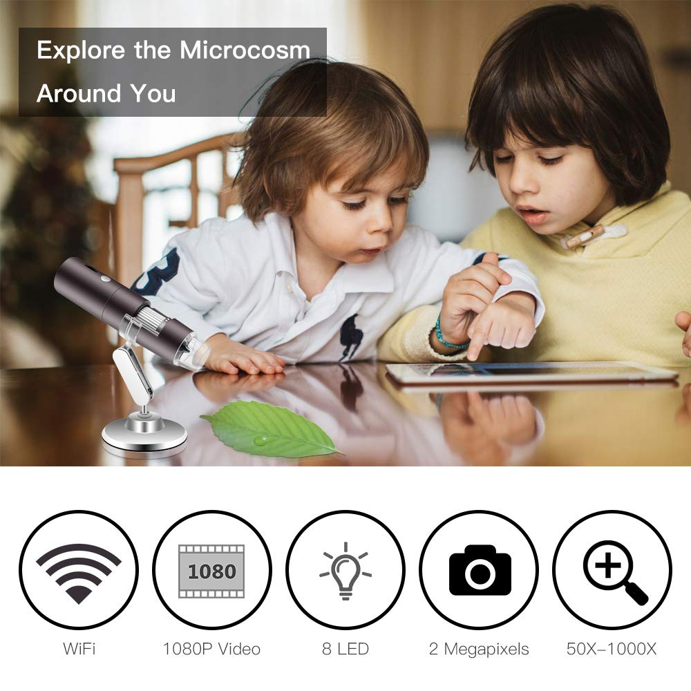 Veroyi Wireless Digital Microscope 1080P 50X to 1000X WiFi Pocket Magnification Magnifier, Rechargeable USB Microscope (Gray) by Veroyi (Image #3)