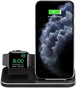 Wireless Charging Station, Upgraded Alloy 2-in-1 Wireless Charger and Charging Stand, Compatible with iPhone 12 11 11Pro X Xs max 8 8P, iWatch 6 5 4 3 2, (no iWatch Cable or Adapter)