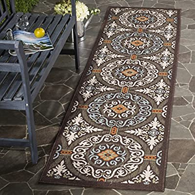 "Safavieh Veranda Collection VER055-0723 Indoor/ Outdoor Chocolate and Aqua Contemporary Runner (2'3"" x 8') - The high-quality polypropylene pile fiber adds durability and longevity to these rugs. The powerloomed construction add durability to this rug, ensuring it will be a favorite for a long time. The looped pile gives this rug a soft feel and classic look - runner-rugs, entryway-furniture-decor, entryway-laundry-room - 61VoA24dBEL. SS400  -"