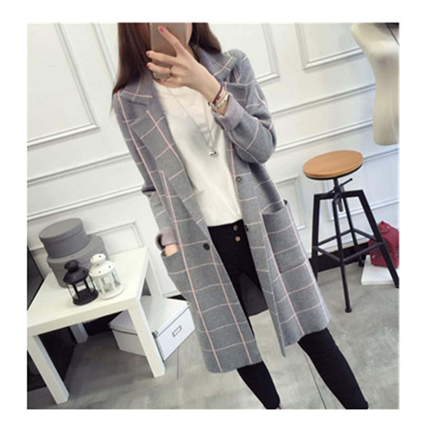 Winter Women Sweater Long Sleeve Knitted Plaid Cardigans Female Tops