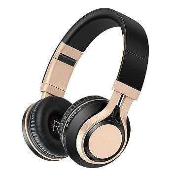 Mr.LQ Auricular inalámbrico Bluetooth perSeverante persistencia de Bajos Auriculares pequeños y cómodos,Gold