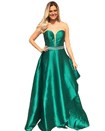 Graceprom Womens Satin Backless Green Prom Dress Beaded Long Evening Gown Party Dress 2