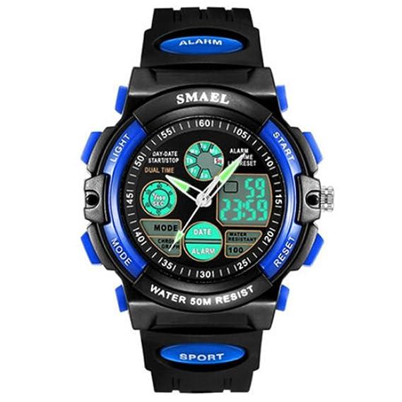 72d3746d54d3 amstt Niños Relojes Joven Militar Cronómetro digital reloj LED resistente  al agua electrónico Azul Esfera Reloj de pulsera  Amazon.es  Relojes
