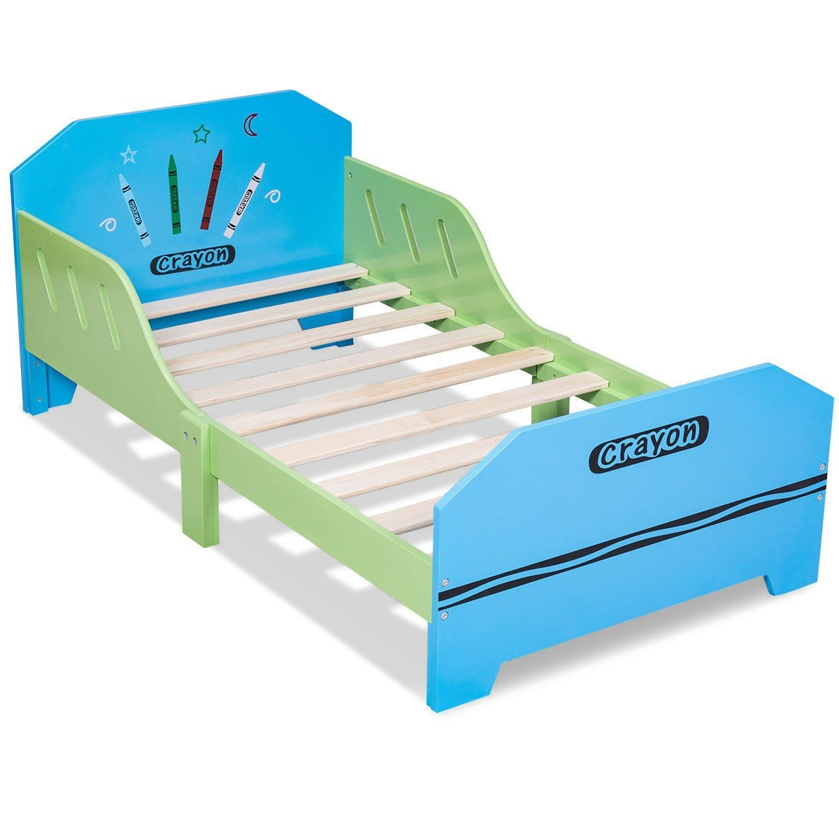 Crayon Themed Wood Kids Bed with Bed Rails - By Choice Products