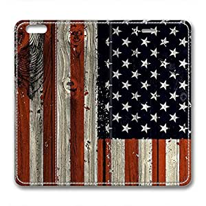 iCustomonline Leather Case for iPhone 6, The American Flag Stylish Durable Leather Case for iPhone 6