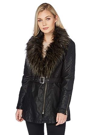 4669ea5db613 Roman Originals Women's Black Faux Fur Trim Leather Coat Sizes 10-20 - Black  -
