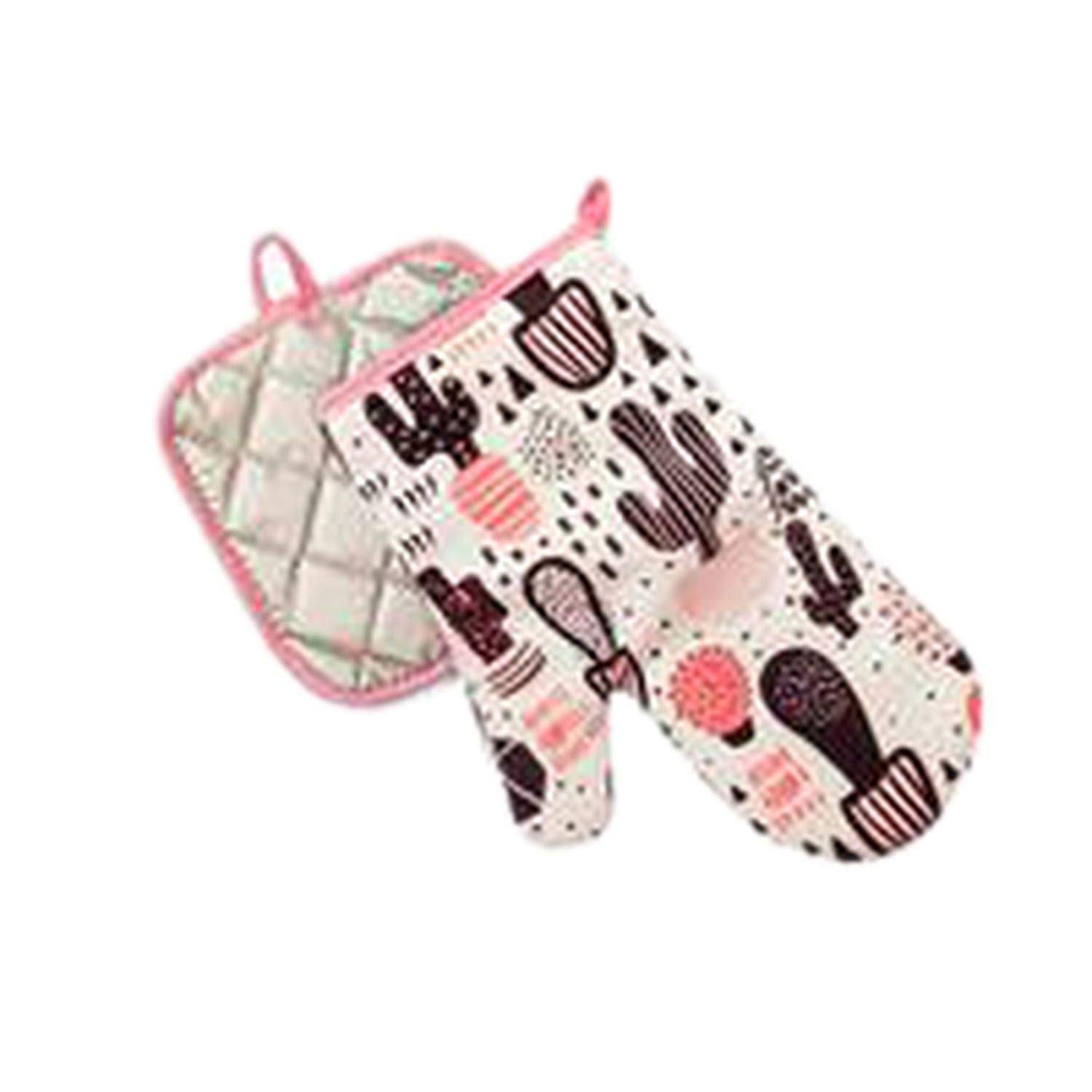 start-imagine Flamingo Microwave Gloves Insulated Pad Cotton Linen Heatproof Padded Anti-Scalding Oven Gloves Mitts Potr Kitchen Tool,S9