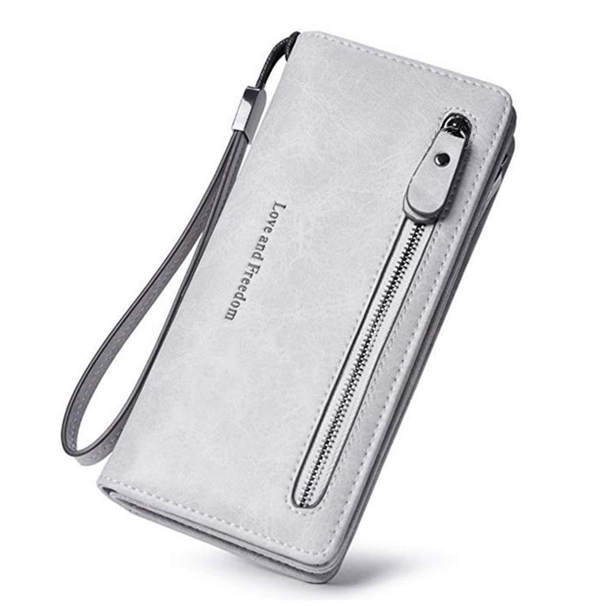 Women Leather Billfold Long Wallet Clutch Zipper Money Clip Wristlet Strap- Laimi duo(grey)
