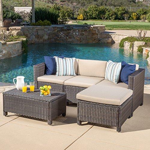 Venice Outdoor Wicker Patio Furniture Grey & Black Sofa Seating Set w/ Cushions