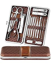 Manicure Set Nail Clippers Pedicure Kit -18 Pieces Stainless Steel Manicure Kit, Professional Grooming Kits, Nail Care Tools with Luxurious Travel Case