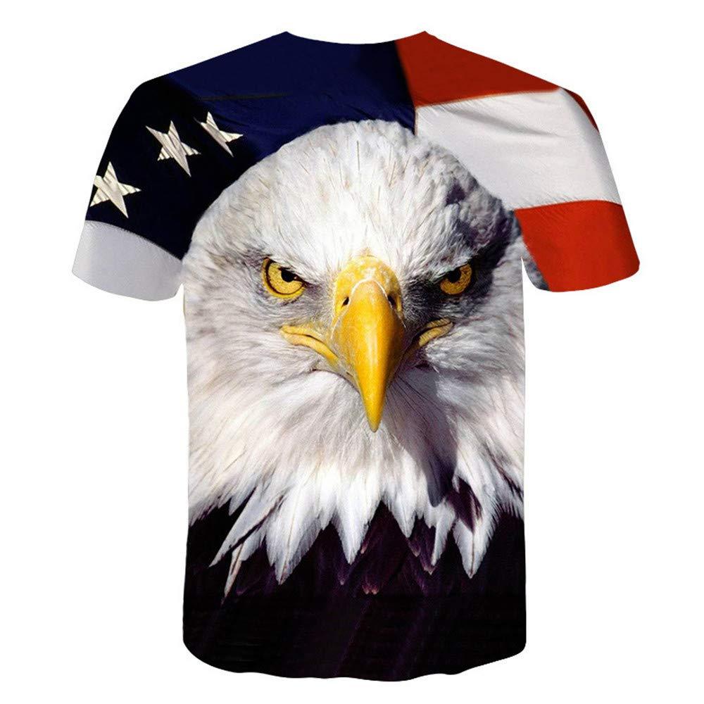 GuiSoHn Hombre Mujer T-Shirt 3D American Eagle Impresa Unisex ...