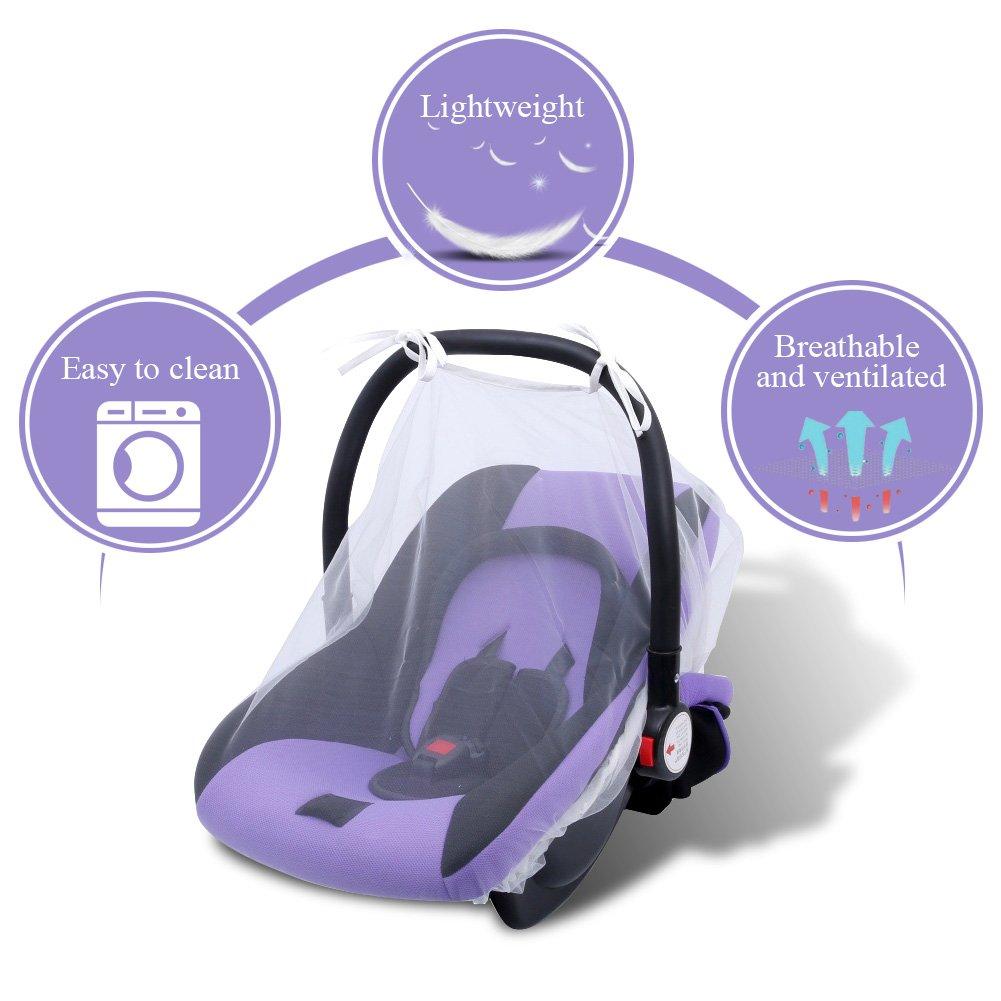 Bel/üftete Baby-Moskitonetz Reise-freundliche Kinderwagen Kinderwagen Auto Kindersitz Abdeckung Einfach zu installieren und zu entfernen Kinderwagennetz Grau