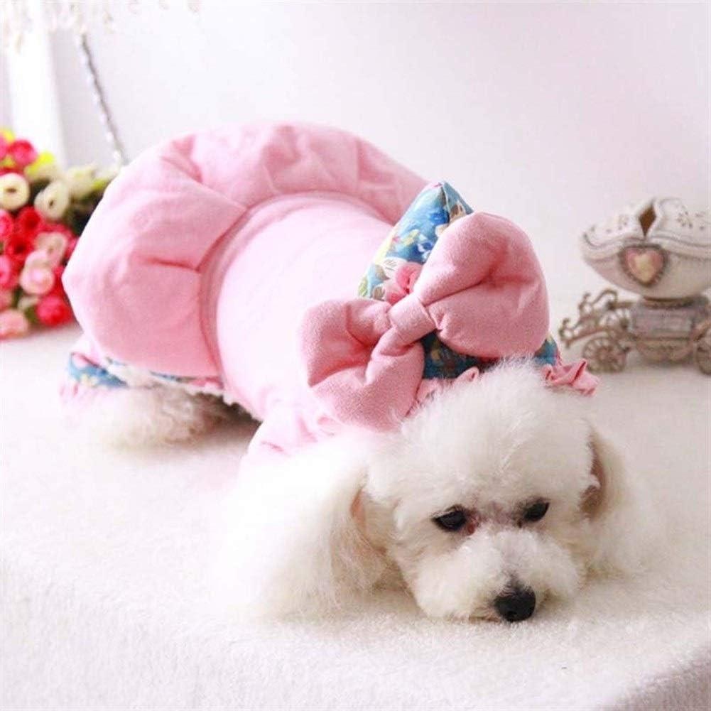 nobrand TEYUN Dicke Warme Herbst-Winter-Druck-Hunde Overall-Mantel-Jacken Big Fliege mit Hut Hund Hoodies Rosa netten reizenden