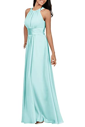 Zhongde Bridesmaid Maxi Dresses Long Formal Evening Party Prom Gown For Women Baby Blue Size 2