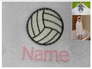 Toalla con capucha con un logotipo de voleibol y nombres de su elección, 0 - 5 años, 100 x 100 cm: Amazon.es: Hogar