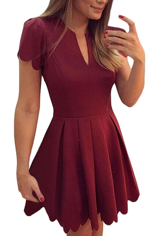 Sidefeel Women Cute V Neck Sweet Scallop Pleated Skater Dress HX22635