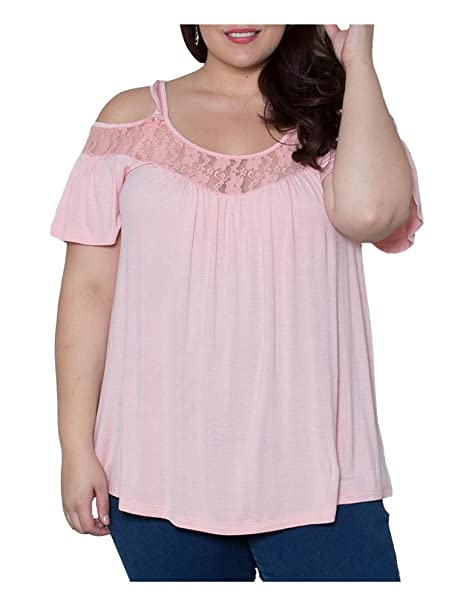 44751d383cfef CutyKids Womens Tunics Lace Shirts Plus Size Cold Shoulder Tops Blouse Pink  XL