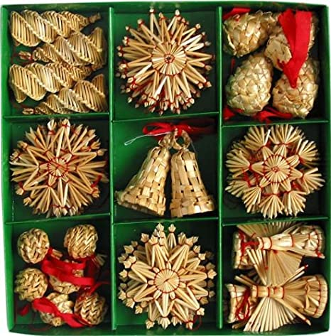 Pine Cone Bell Vintage Straw Ornament Set of 16 Scandinavian Christmas Ornaments Angel