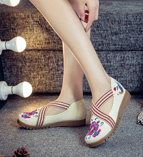 Avacostume Vrouwen Geborduurde Elastische Band Comfortabele Flats Loafer Schoenen Beige