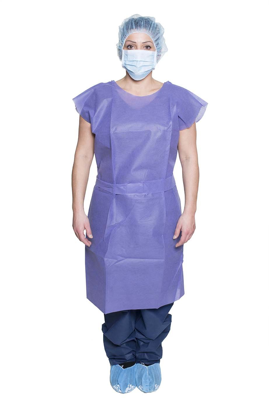 DUKAL 304 Patient Exam Gown, Blue, Non-Sterile, Pack of 50.