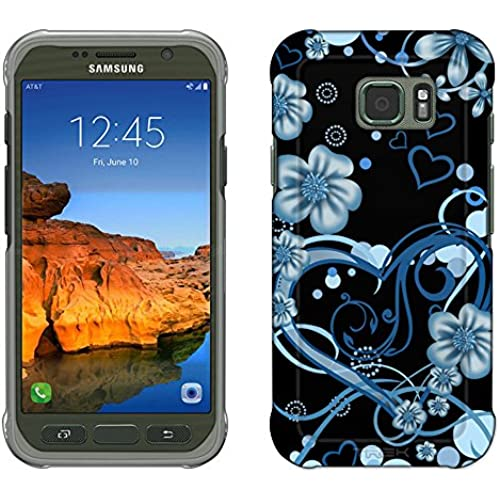 Samsung Galaxy S7 Active Case, Snap On Cover by Trek Sketch Hearts Blue on Black Slim Case Sales