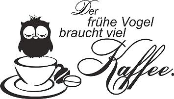 greenluup® Wandtattoo Spruch der frühe Vogel braucht viel Kaffee ...