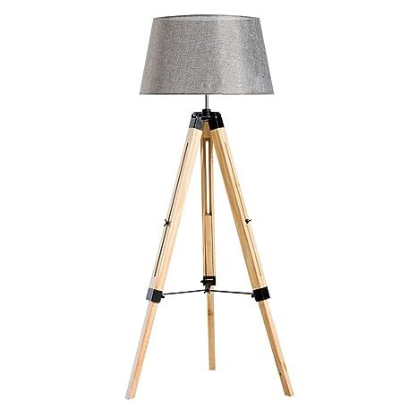 HomCom Lámpara de Pie Iluminación Moderna con Trípode Altura Ajustable 40W E27 Madera y Pantalla de Tela Lino - 65x65x99-143cm
