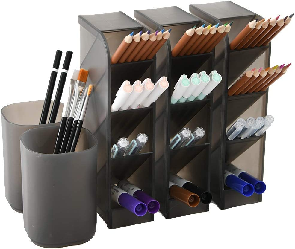 5 Pcs Desk Organizer- Pen Organizer Storage for Office, School, Home Supplies, Translucent Black Pen Storage Holder, Set of 3, 2 Cups 14Compartments (Black)