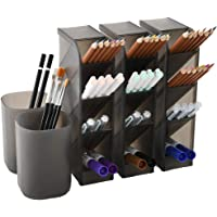 5 Pcs Desk Organizer- Pen Organizer Storage for Office, School, Home Supplies, Translucent Black Pen Storage Holder, Set…