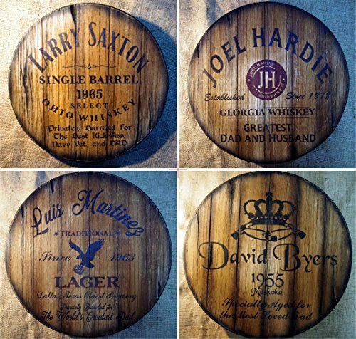 Father's day Personalized Gift | Decor sign inspired by old whiskey and beer barrel tops | Rustic wall decor | Hand-painted artwork on aged wood | Unique gift for dad | Man Cave, Home Bar decoration by Woodcraft City