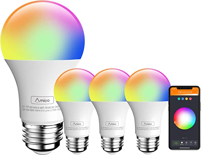 Amico LED Smart Light Bulb, RGB Color Changing WiFi Bulb(2.4G), No Hub Required,Compatible with Alexa, Siri, Google Home, A19 E26 9W=60W (4 Pack)
