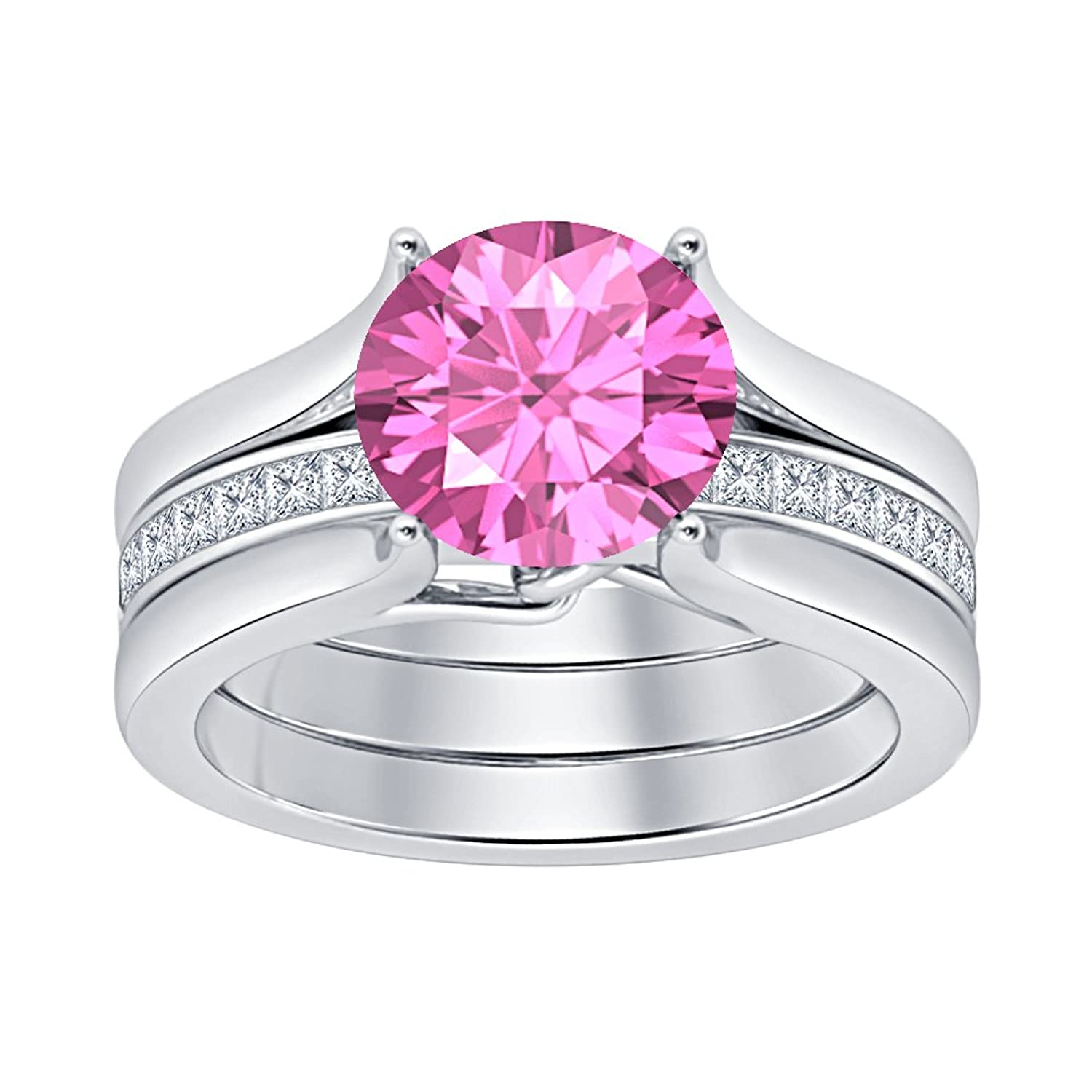 Amazon.com: 2.50 ctw Round Cut Pink Sapphire & White CZ Diamond 925 ...