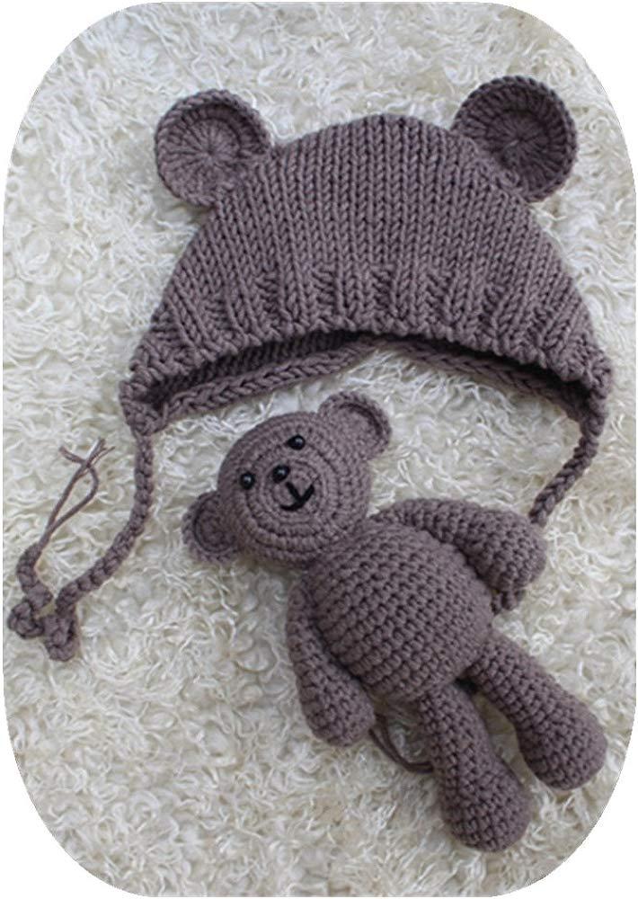 Lppgrace Newborn Baby Girls Boys Bear Hat Beanie with Bear Dolls Photography Accessories