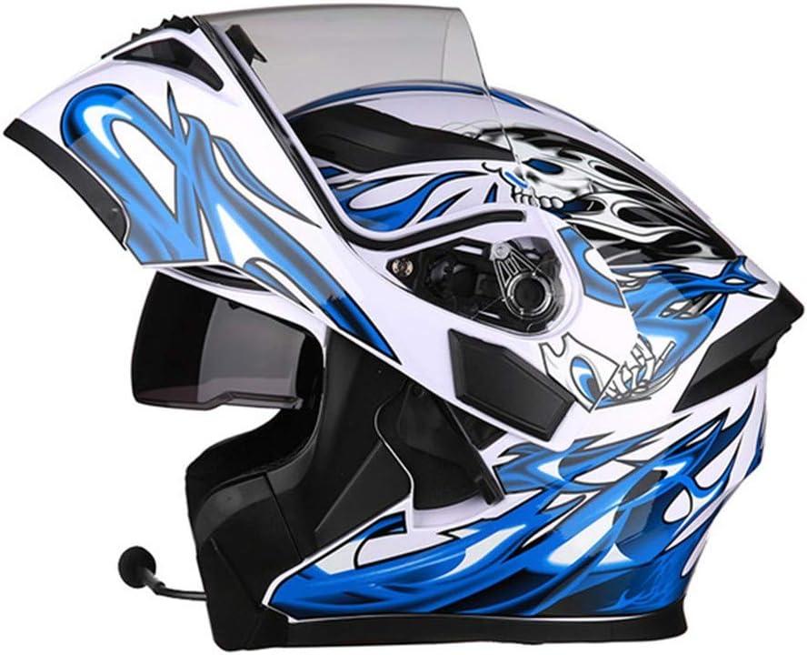 Modulable Flip-Up Integral BluetoothHelmet Casque Moto Modulable ECE Homologu/é Casque Scoote Double Visi/ère pour Scooter Chopper Casque de Moto Homme Femme Adulte