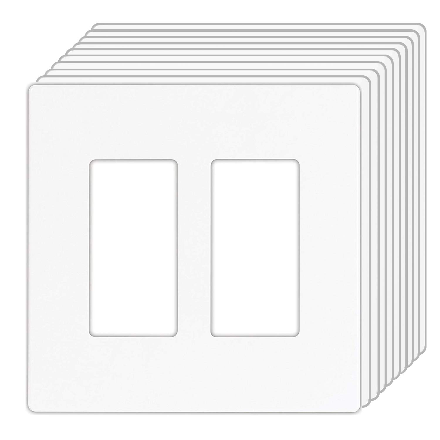 [10 Pack] BESTTEN USWP4 Series, Mid-Sized 2-Gang Screwless Wall Plates, Outlet Covers for GFCI, Decor Receptacles and Light Switches, Child Safe, Unbreakable PC, UL Listed, White