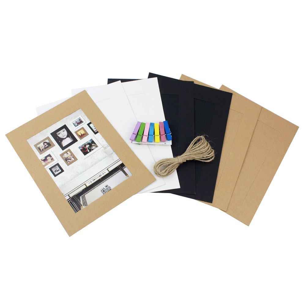 Aolvo set di 7creativa Home parete decorazione da appendere DIY Paper photo Frame con 7PCS mini mollette (3color, 17,8cm)