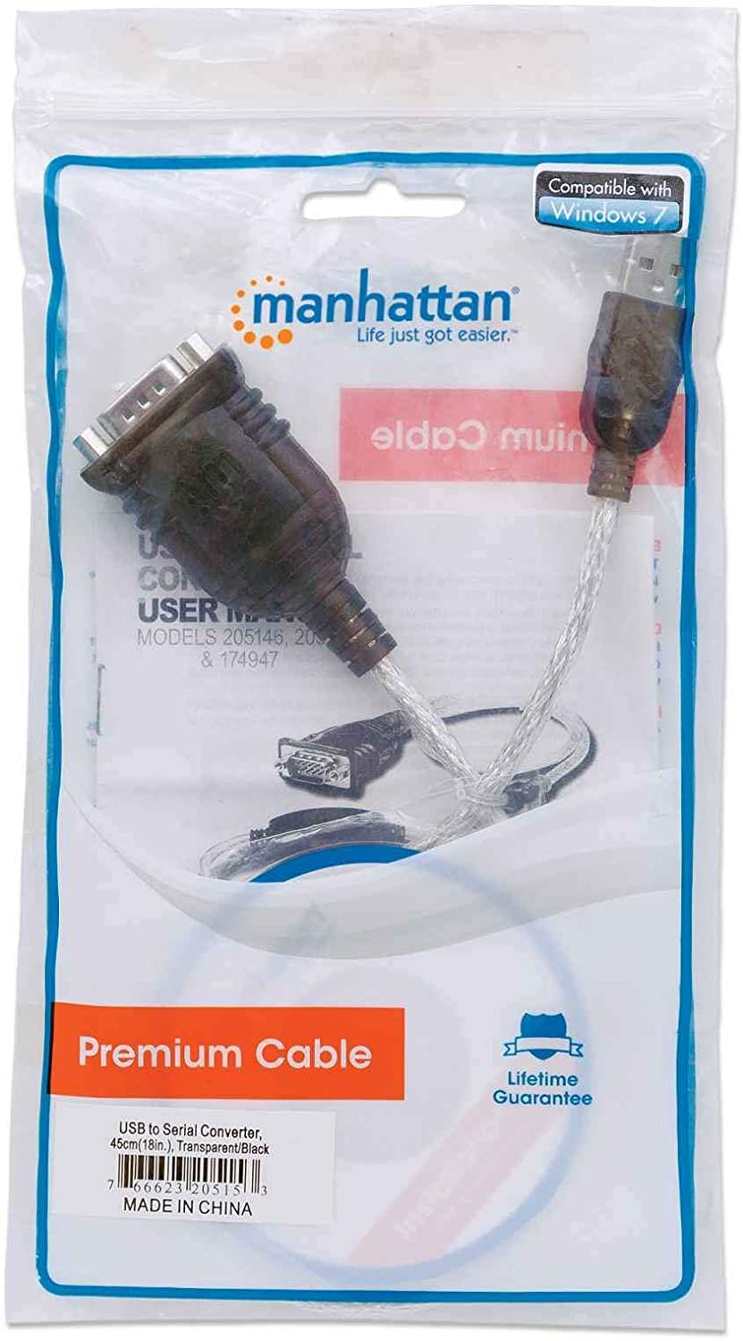 205146 Manhattan USB to Serial Converter Connects One Serial Device to A USB Port