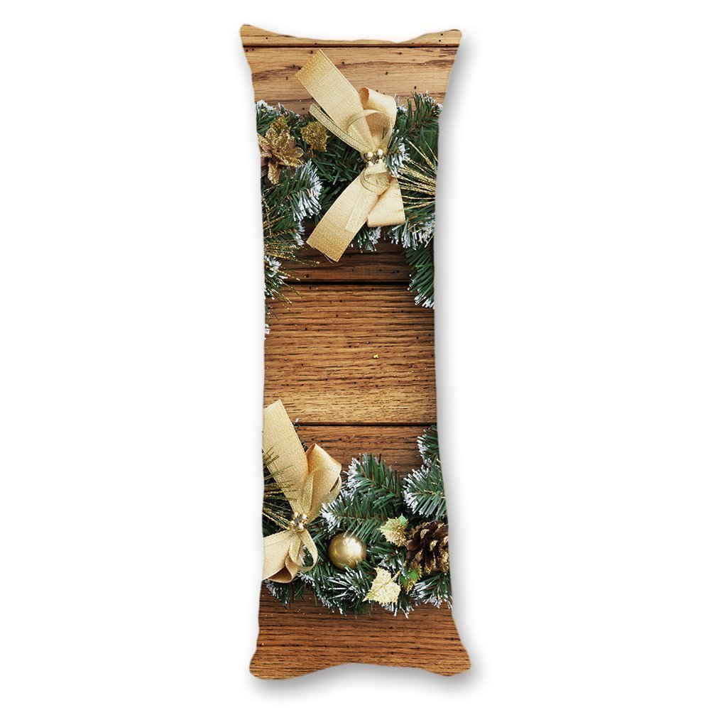 wonbye Merry Christmas Decorations Wood Pattern Cotton Body Pillow Covers Cases With Double Sided 20''x54'',Home Bedroom Living Room Decor