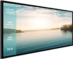Projector Screen,Houzetek 120 Inch Ambient Light Rejecting Screen Indoor Outdoor Projection Movie Screen Diagonal 16:9...
