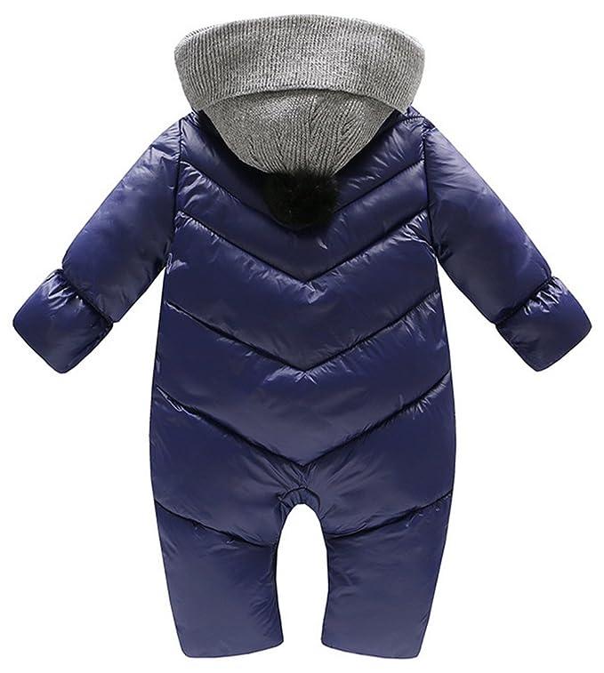 9d2bb3cd5 Amazon.com  Baby Boys Girls Hooded Puffer Jumpsuit Snowsuit Winter ...