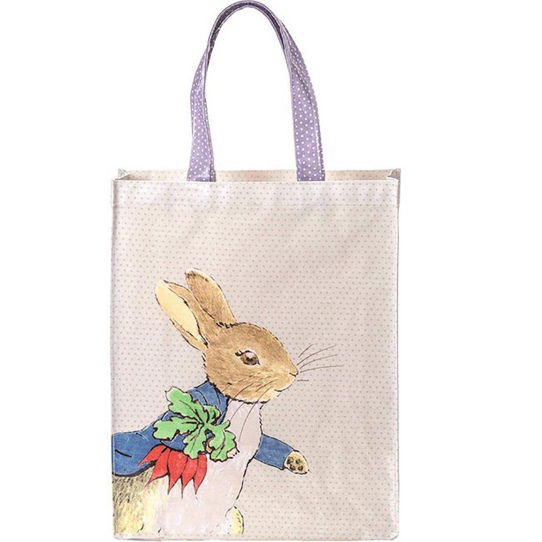 Petitjour Paris ,  Kindergepäck Blau Fond blanc, pois vert, dessin de peter rabbit et sa famille, anse violette à pois L